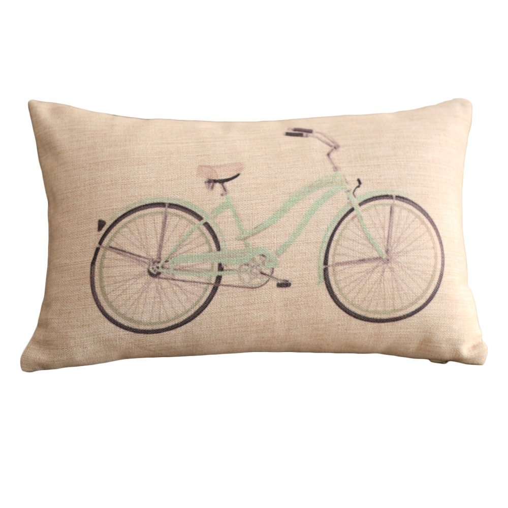 Bicycle Print Throw Pillow : Clear Bicycle Print Rectangular Throw Pillow Covers 30CMx45CM Lumbar Cushions Linen Decorative ...