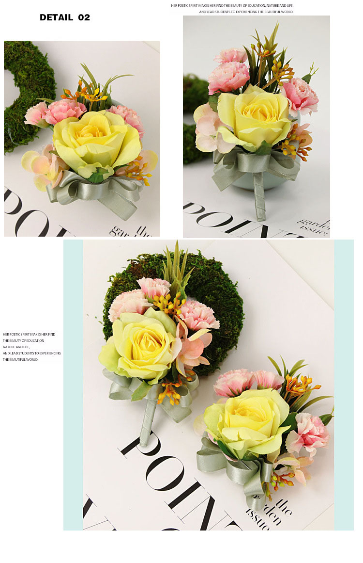 bridesmaid bracelet wedding corsage flowers roses artificial  (7)