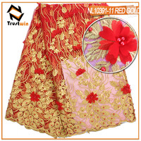 Trustwin Apparel Material 3D Flower Haveay Fushia Lace Tulle Lace French Lace With Stones And Beads