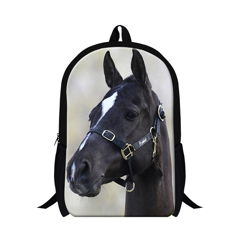 Latest design black plush horse backpack for cool boys animal 3D print bookbag school bags teenagers cute girls bookbags