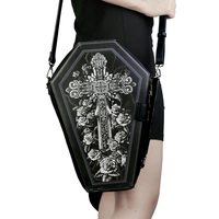 Steampunk Men's Black Shoulder Bag Big Metal Cross Decoration Crossbody Bag Rock Party Bag