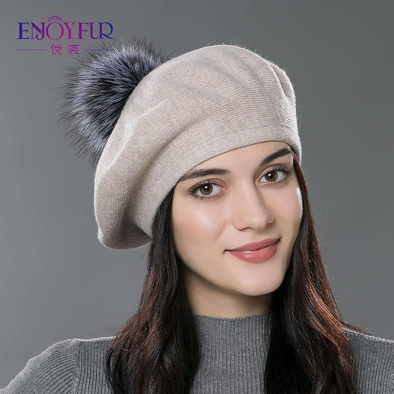 - Enjoyfur Women Beret Hat Female Winter Knitted -9577