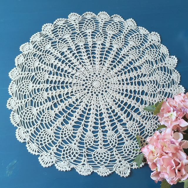 Crochet Round Tablecloth Vintage Round Table Topper Handmade Crochet Lace  Round Tablecloth Placemat 55cm (22