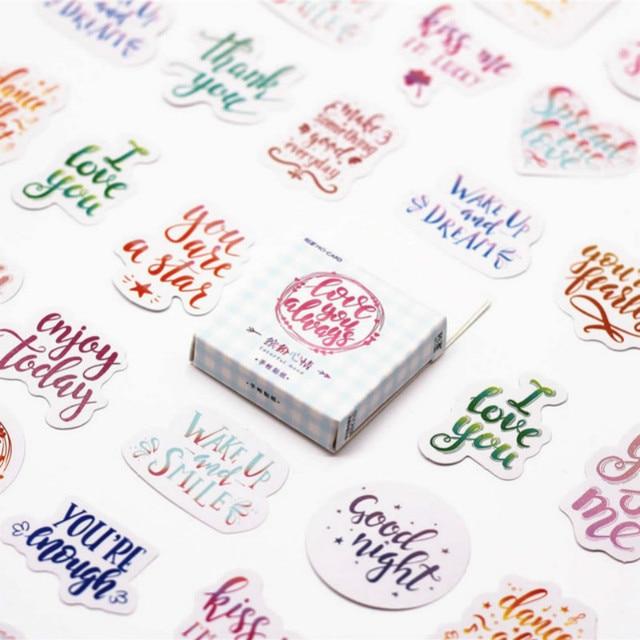 45 unids/pack Kawaii Cute leave word patrón Decoracion diario pegatinas Scrapbooking papelería estudiante Oficina suministros