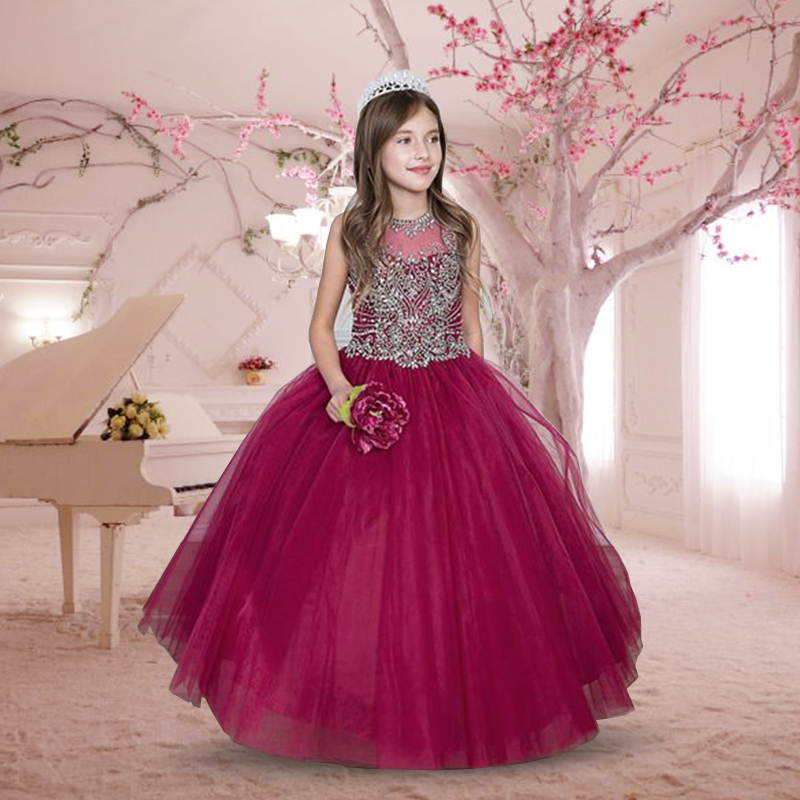 Stunning Lace Tulle Flower Girls Dresses with Rhinestones Glitz Organza Ruffles Sheer Lace Up Open Back Kids Pageant Ball Gowns gorgeous lace beading sequins sleeveless flower girl dress champagne lace up keyhole back kids tulle pageant ball gowns for prom