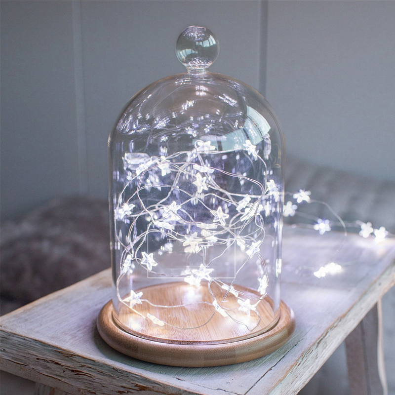 Led Star Copper Wire String Lights Led Fairy Lights Christmas Wedding Decoration Lights Battery Operate Twinkle Lights Aa