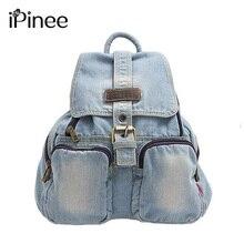 Ipinee темно-синий женский рюкзак школы Повседневная Denim Style Женская дорожная сумка для подростков оптовая продажа