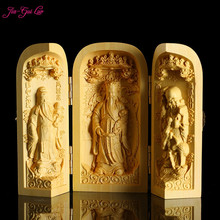 JIA-GUI LUO Boxwood Carving Home Decor Statue Display Frame Decoration Portable Box Birthday Gift China Buddha A047