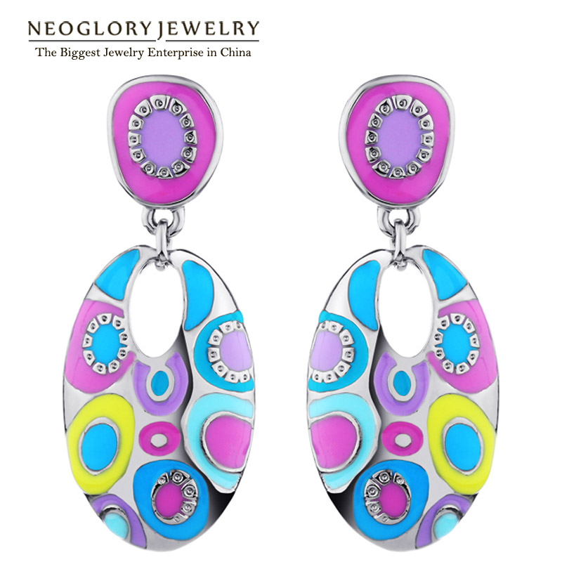 Neoglory Enamel Colorful Ethnic Bohemian Chandelier Long Round Earrings for Women Fashion Big India Jewelry Vintage 2017 ENA1