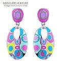 Neoglory Enamel Colorful Ethnic Bohemian Chandelier Long Round Earrings for Women Fashion Big India Jewelry Vintage 2017 ENA1