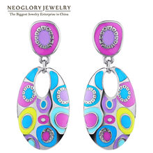 Neoglory Enamel Colorful Ethnic Bohemian Chandelier Long Round Earrings for Women Fashion Big India Jewelry Vintage 2018 ENA1(China)