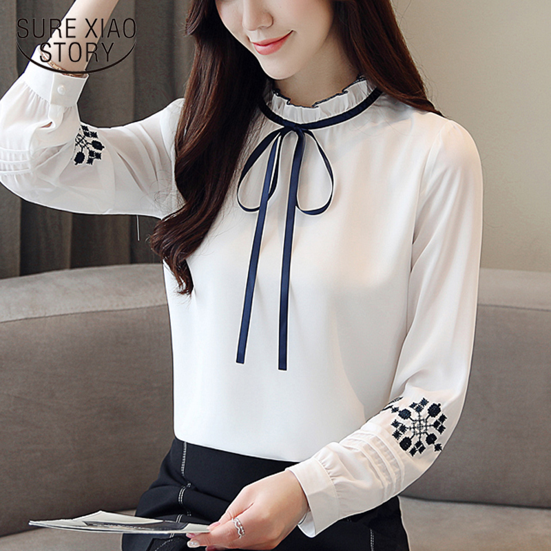 New 2018 Autumn Embroidered Chiffon Women   Blouse     Shirt   Long Sleeve Slim Bow Tie Femme Tops Bottoming   Shirt   Clothing 0857 30