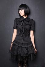 Wykonane na zamówienie bluzka fajne czarny Gothic Lolita bluzka słodkie koronki Lolita koszula tanie tanio Kobiety REGULAR Stałe Na co dzień Suknem COTTON Poliester Stojak Natural color Krótki Lolitash018 Blouse