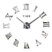 Новый горячий акриловый зеркальный стикер настенные часы Современный домашний декор гостиная круглые римские цифры кварцевые наклейки