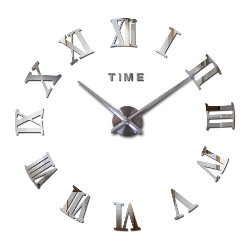 Nouveau chaud acrylique miroir stickers muraux horloge murale horloges moderne maison decora salon circulaire chiffres romains quartz autocollant