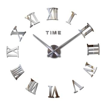 Nuevo espejo acrílico caliente pared adhesivos Reloj de pared Relojes Hogar Moderno decora sala de estar circular números romanos Etiqueta de cuarzo