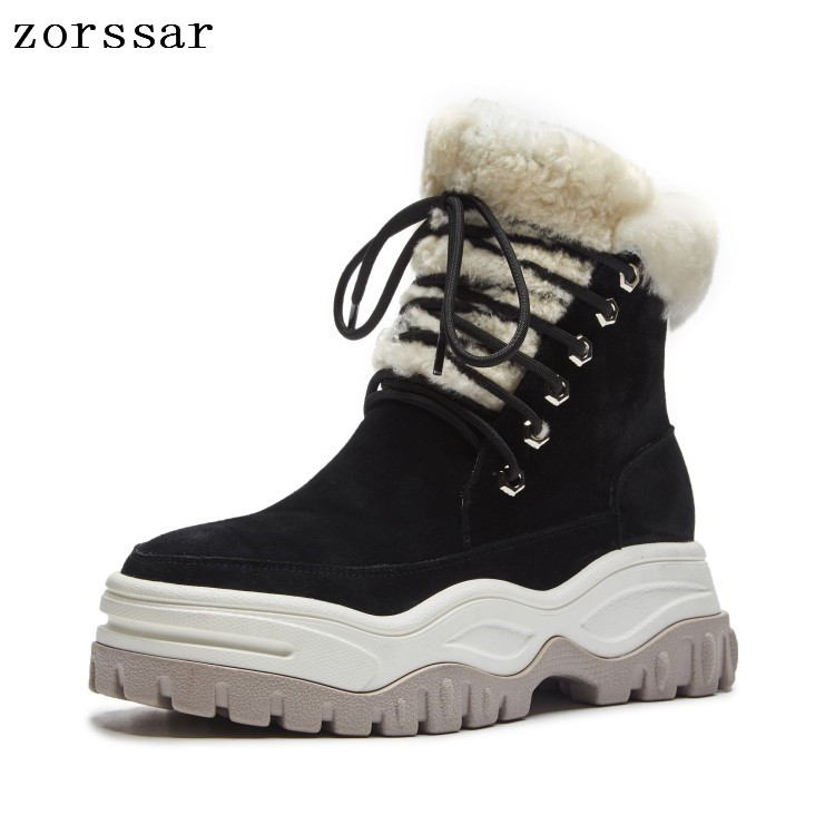 Zorssar 2018 suede women winter boots warm fur plush Woman Snow Boots Ankle Platform boots Fashion Ladies Creeper shoes Footwear ekoak new women snow boots fashion winter boots warm plush ankle boots ladies platform shoes woman flock rubber boots