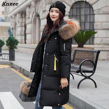 Hot Women Winter Coat Fashion Female Big Fur Collar Duck Long Parkas Jacket Thick Warm Elegant Slim Wadded