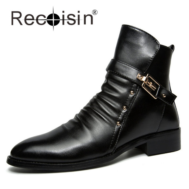 RECOISIN New Autumn Men High Top Boots Pointed Toe Buckle Strap Leather Boots For Male Pleated Upper Vamp Boats Zapatos 308