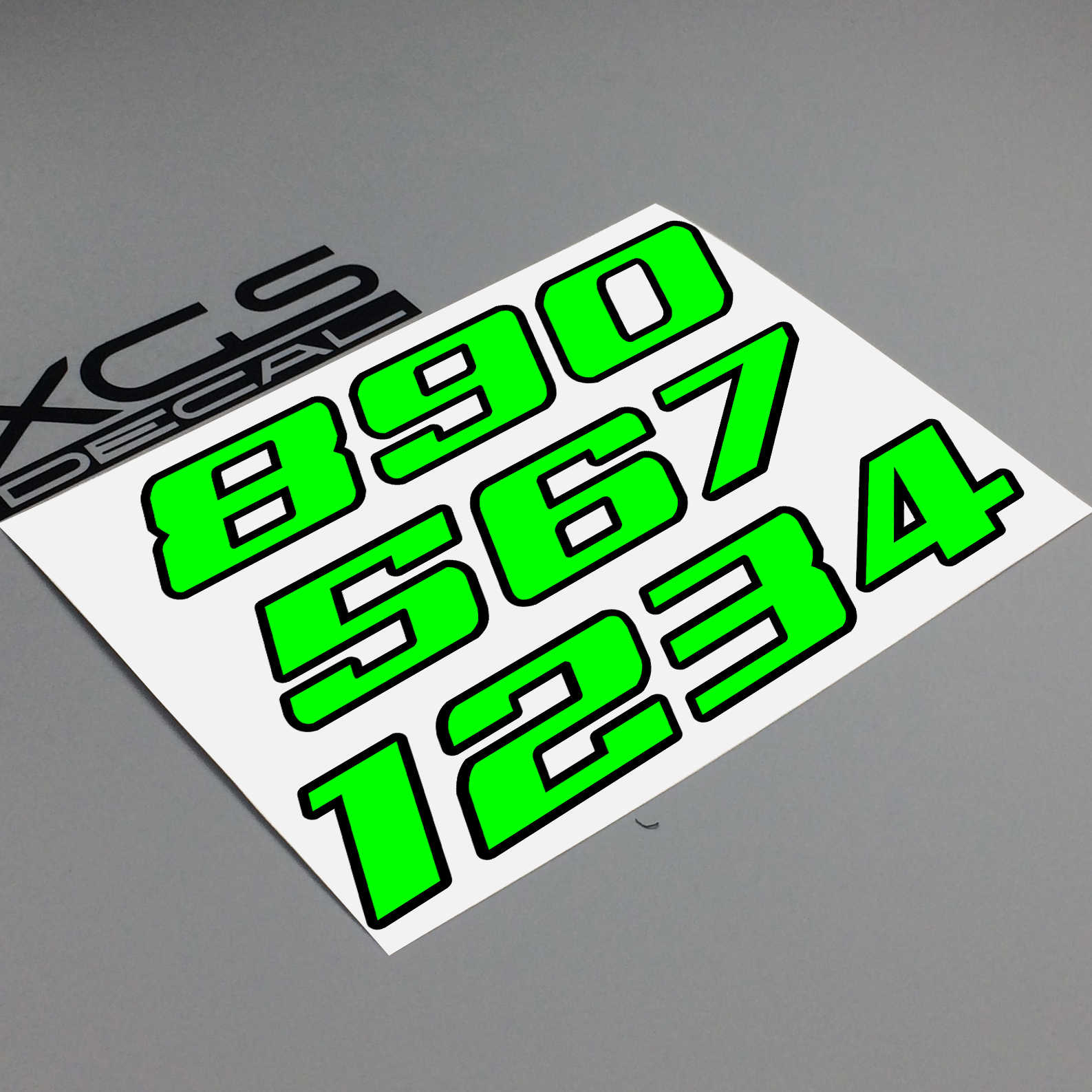 XGS DECAL Auto sticker Nummer Neon Tl Dubbele Laag Vinyl Cut Motorfiets ATV Helm sticker Outdoor Decal