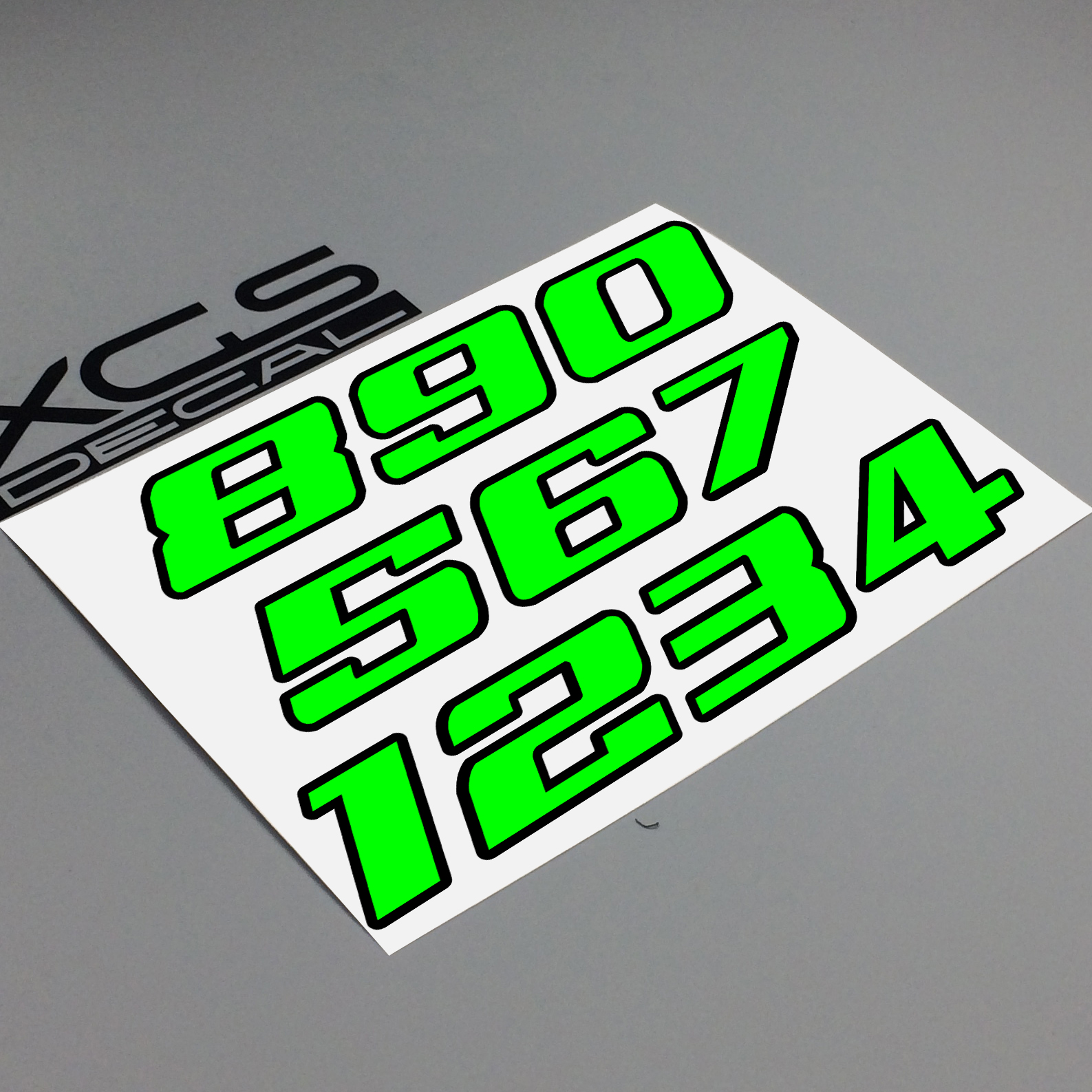 XGS DECAL Car Sticker Number Neon Fluorescent Double Layer Vinyl Cut Motorcycle ATV Helmet Sticker  Outdoor Decal