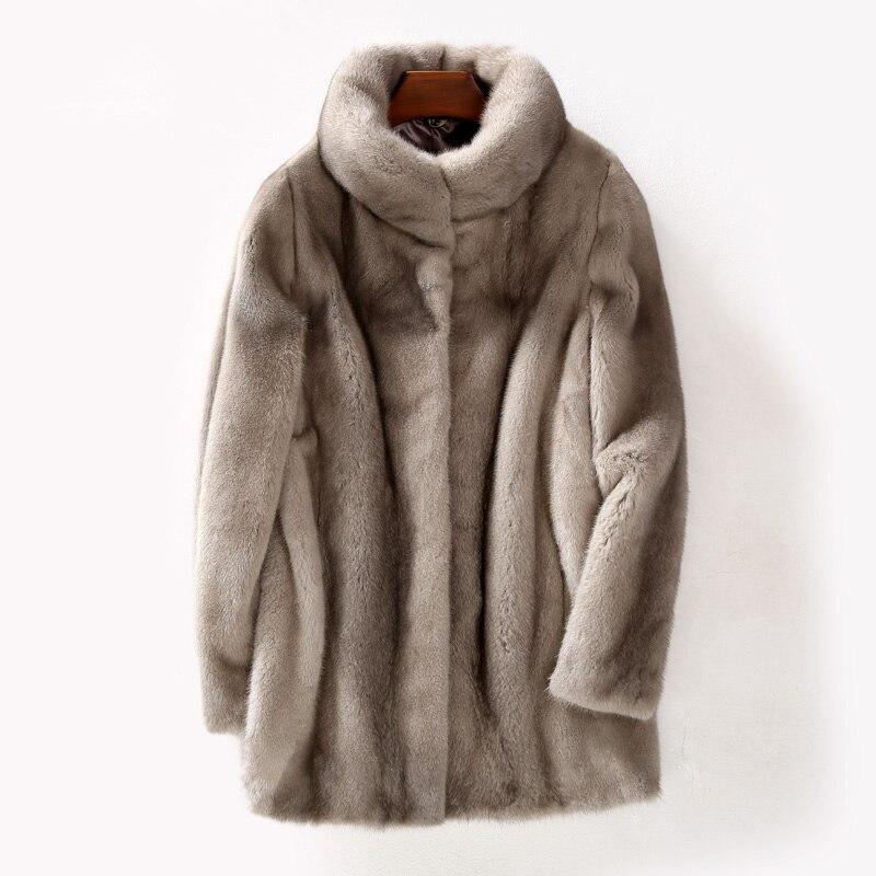 Manteau de fourrure de vison véritable manteau d'hiver femmes grande taille veste femmes vêtements 2018 automne Long manteaux Vintage veste Chaqueta Mujer MY1062