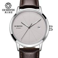 למעלה מותג OCHSTIN יוקרה גברים שעון תאריך ספורט אוטומטי מכאני שעונים זכר שעון פשוט סגנון עור שעון יד relogio