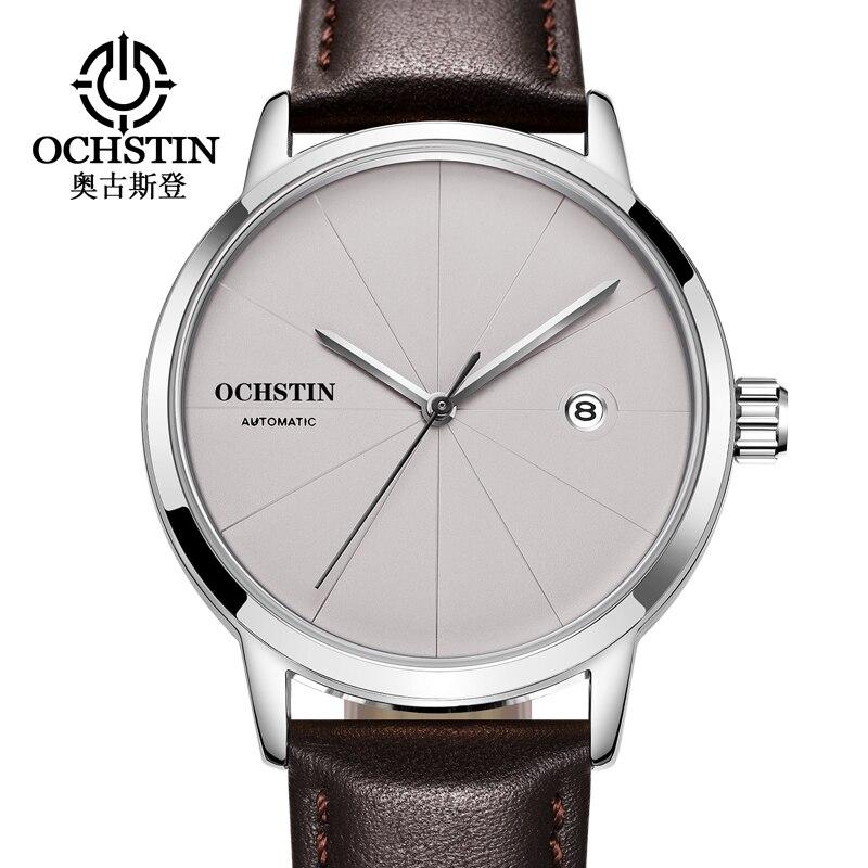 Top Marque OCHSTIN De Luxe Montre Homme Date Automatique Sport Mécanique Montres Homme Horloge Style Simple En Cuir Montre-Bracelet relogio
