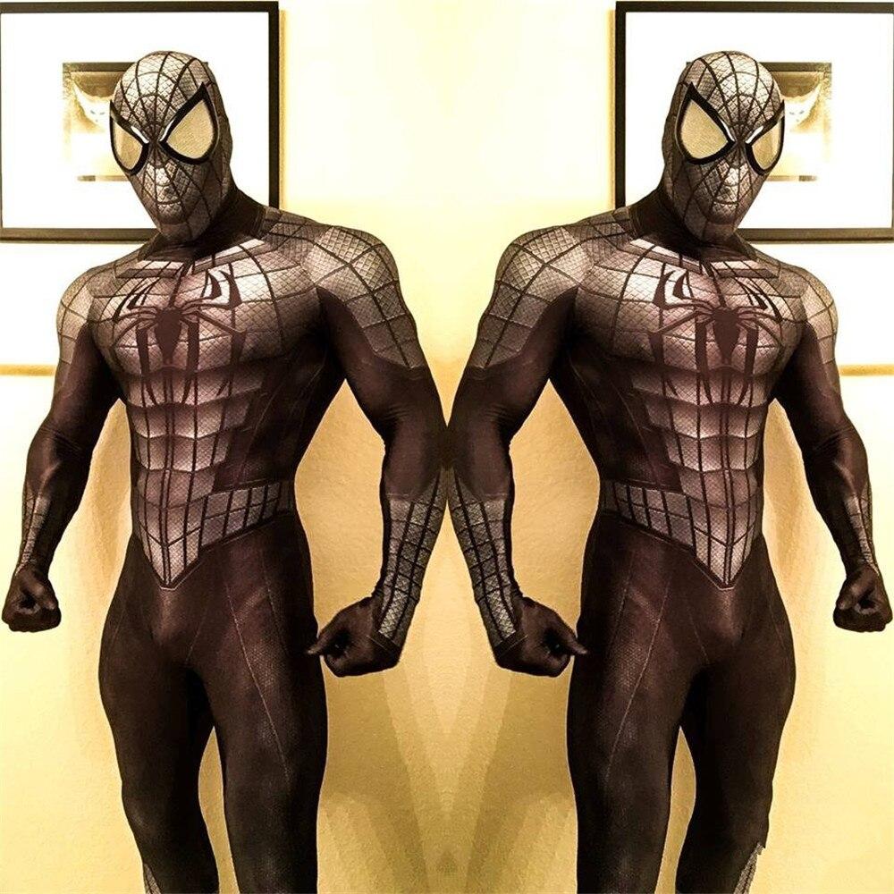 Alta qualidade adulto homens halloween preto spiderman cosplay trajes veneno lycra zentai herói spidey terno traje de halloween