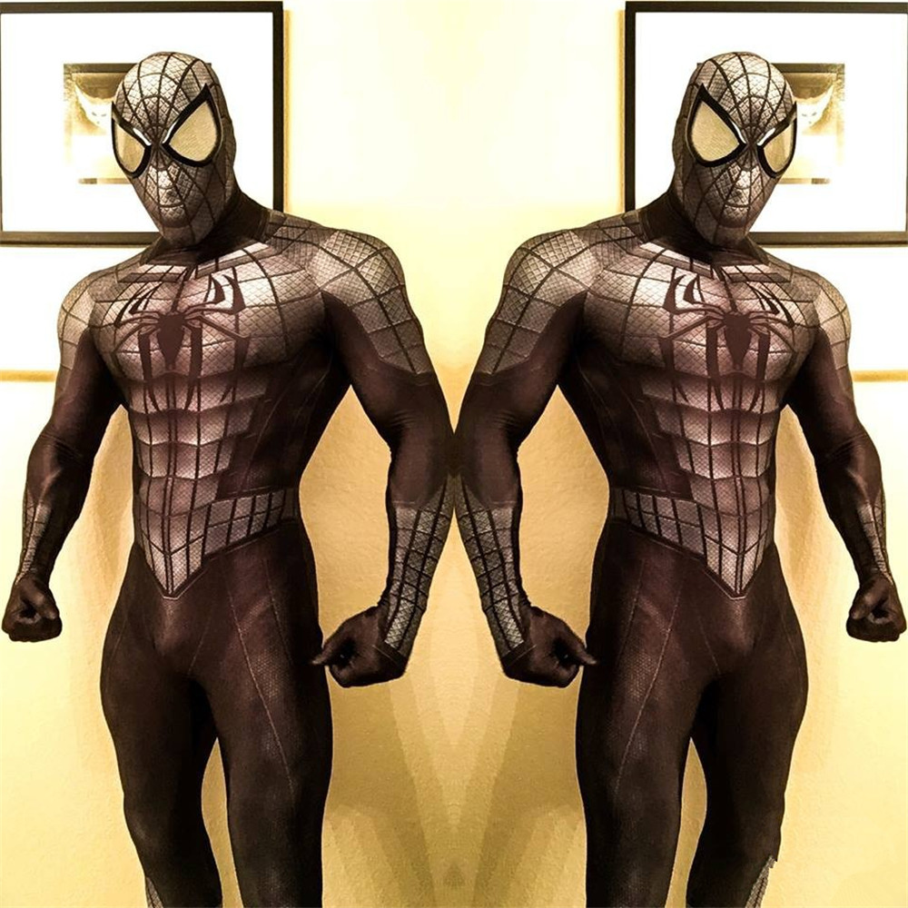 High Quality Adult Mens Halloween Black Spiderman Cosplay Costumes Venom Lycra Zentai SuperHero Spidey Suit Halloween costume
