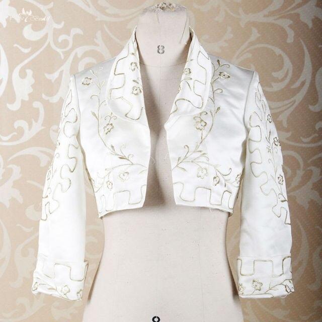 RSJ279 Long Sleeves Gold Embroidery Pattern Off White Satin Bolero Jackets b6029ecbf