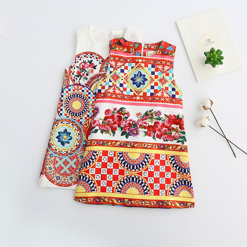 Kid Bohemian Style Dresses Children Summer Princess Pattern Clothing O-Neck Baby Girls Floral Flower Clothes Sleeveless 6pcs/LOT