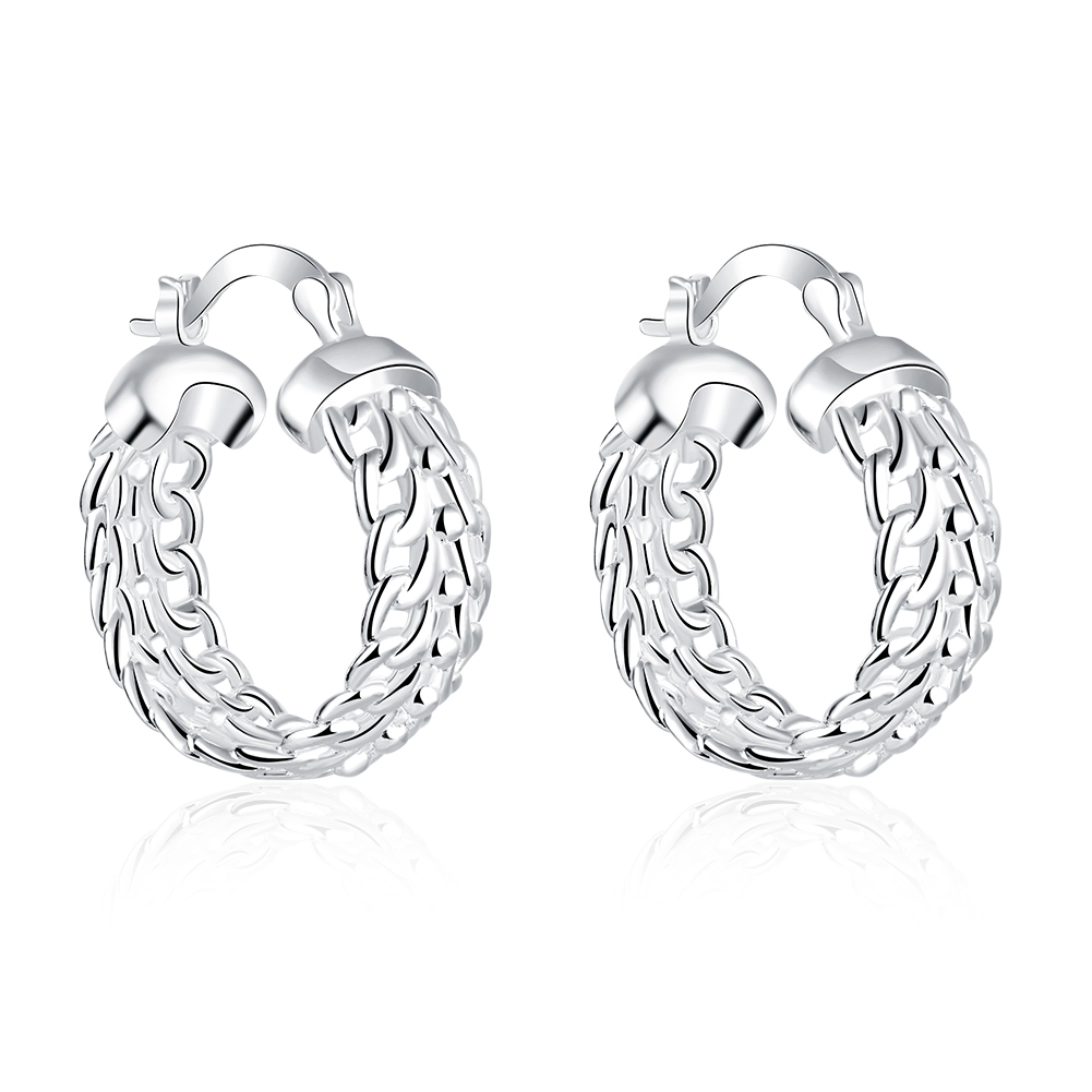 JEXXI 925 Sterling Silver Classic Basketball Circle Loop HoopEarring Fashion Jewelry For Woman Wedding Engagement Free Shipping