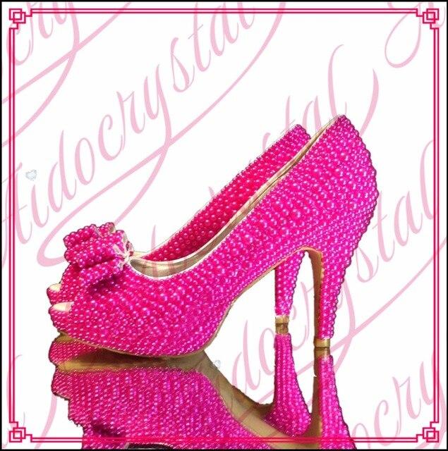 Aidocrystal Luxury pearl wedding shoes women fuchsia high heels peep toe  platform shoes bridal dress party heels with bowknot d18af3b34