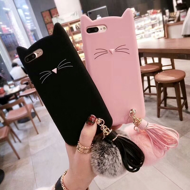 Kuutti Squishy Women Girls Kawaii Cat Pink Black Silicone Phone case with  Plush Ball and tassels Covers for iphone 6 6s 7 8 Plus 4bc750a7ef