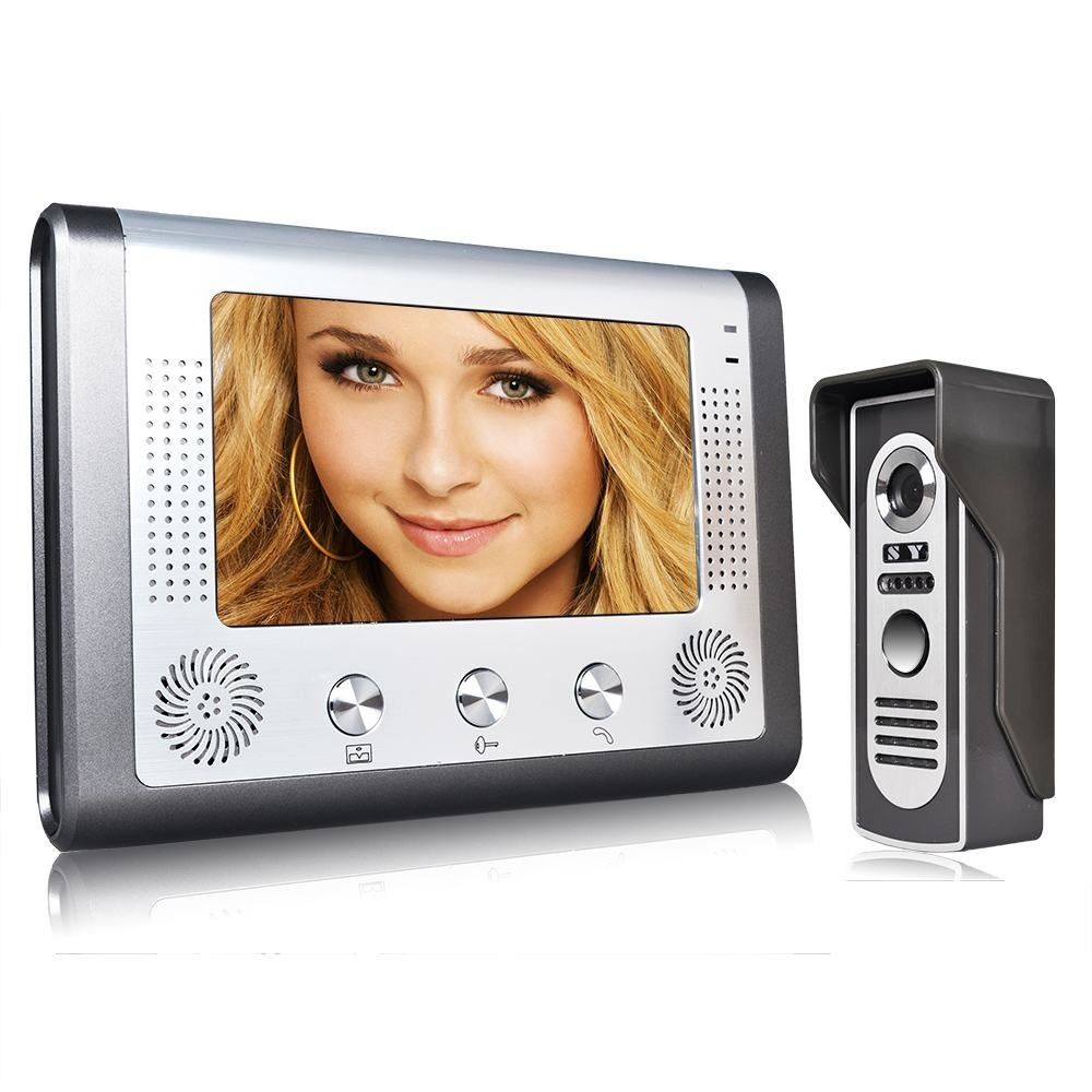7 Inch Wired Video Door Phone Doorbell Intercom Kit With Rainproof 700TV Lines Night Vision Camera