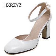 Brand HXRZYZ spring/summer fashion buckle 8cm high heels Square Toe square heel women leather shoes black whit Ankle Strap pumps