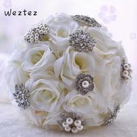 Wedding Bouquet Pearl Butterfly Brooches Bouquet Alternative Cascading Bouquet Crystal Wedding Flowers D481