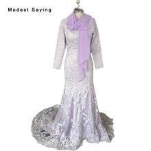 Lavanda elegante Sirena de Cuentas de Encaje de Manga Larga Musulmán Vestidos de Noche 2017 Largo Forrado Partido Prom Vestidos vestido de festa BSE121