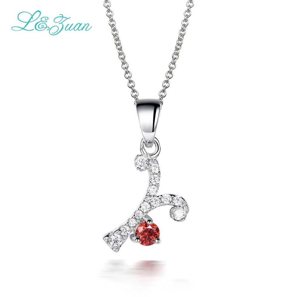 925 silver Zircon Woman Pendants Necklaces Trendy 0.47ct natural Gemstones Charm Y Fine Jewelry Link chain Party gift