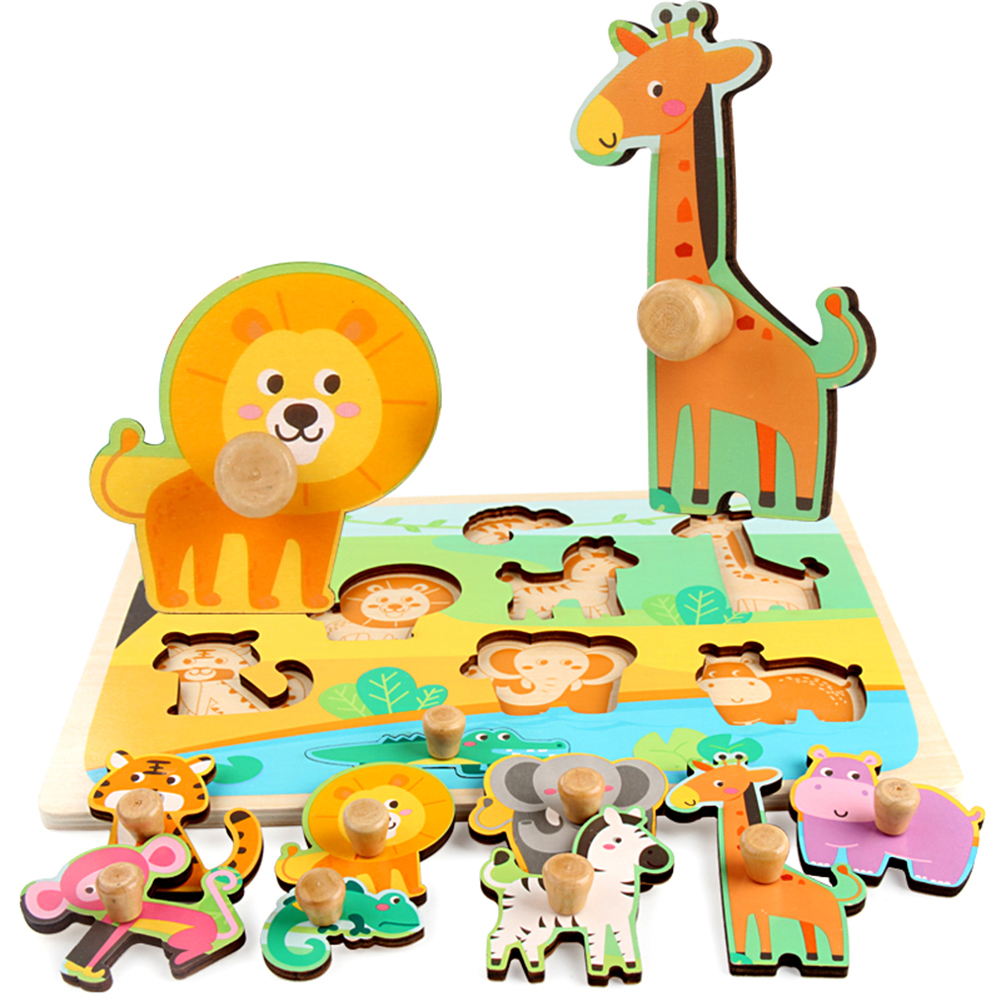 New Children Hand Grab Wooden Animal  Peg Puzzles Home Preschool Learning Development Game Toy for Kids Educational Learning Toy