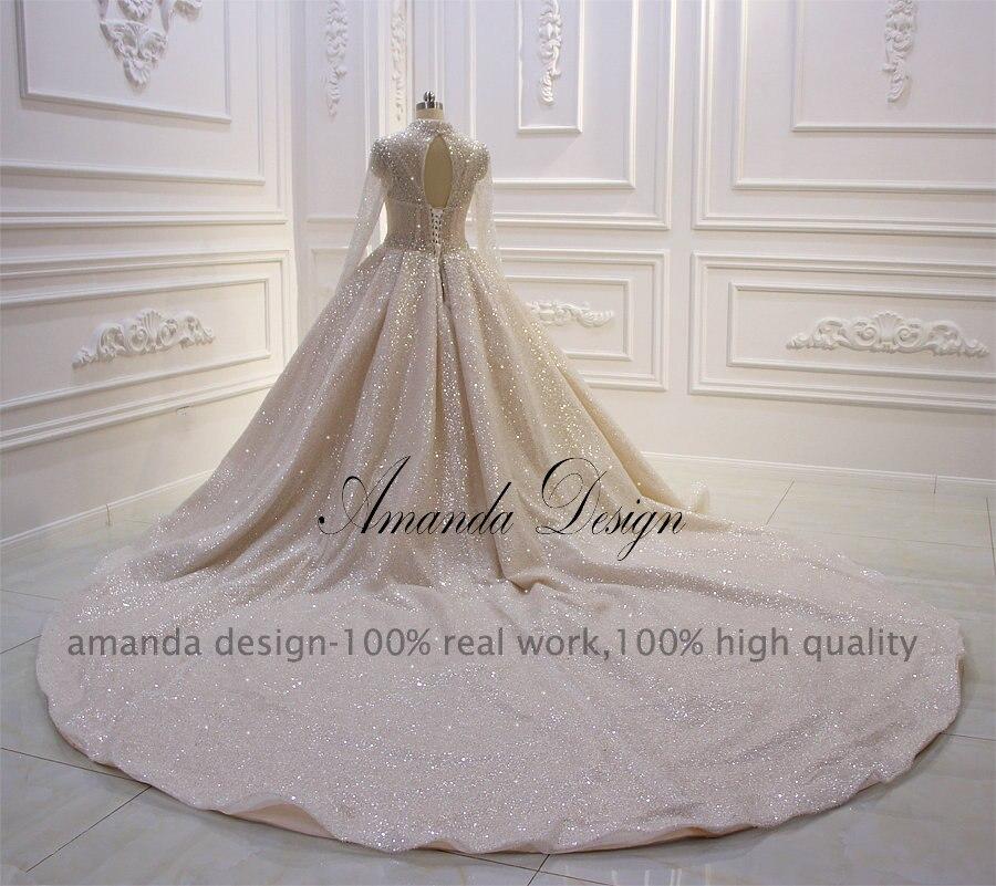 Image 3 - Платье Аманда с высоким воротом и длинным рукавом, блестящее Прозрачное платье для свадьбыСвадебные платья    АлиЭкспресс
