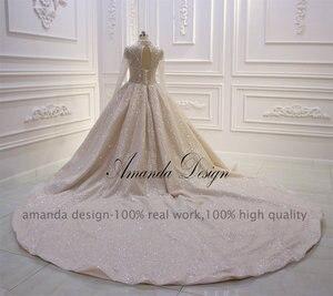 Image 3 - Amanda การออกแบบคอยาวแขนยาวหรูหราคริสตัลประดับด้วยลูกปัดเงาดูผ่านงานแต่งงานชุด