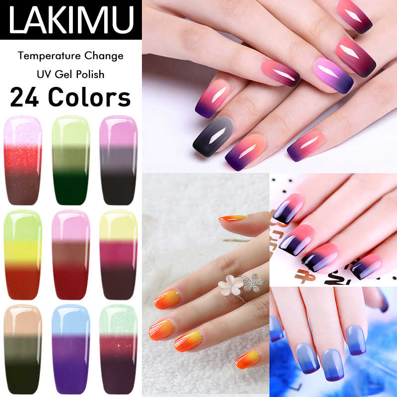 Lakimu 24 Warna Pernis Hybrid Gel Nail Polish UV LED Semi Permanen Gel Lacquer Biasa Gel Nail Polish Primer Perlu top Coat