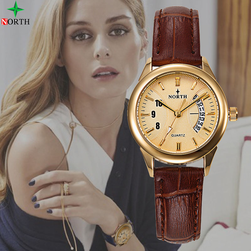 NORTH Brand Luxury Women Watches Date Day Clock Ladies Stainless Steel Quartz Wrist Watch Women dress Casual relojes mujer 2017