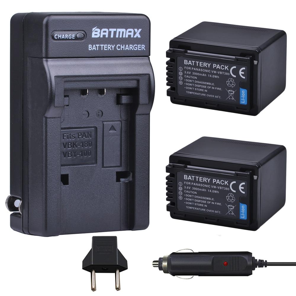 2X 3900mAh VBT380 VW-VBT190 VBT190 Batteries+Charger For Panasonic HC-VXF999, HC-VXF990, HC-VX870, HC-VX989, HC-W570, HC-W580