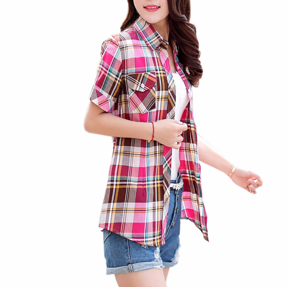 2017 Summer Women's   Shirts   Cotton Plaid Short Sleeve   Blouse     Shirt   Women Casual Tops Clothing   Shirts   Female overshirt Plus Size
