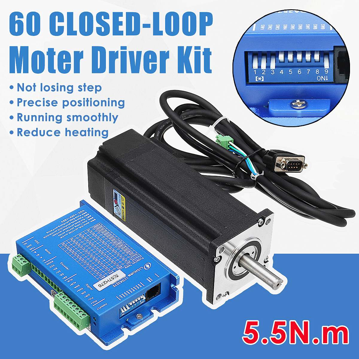 Two-Phase 60 Closed-loop Stepper Motor 5.5 N.M. Driver Kit LCDA257S+LC60H2127Two-Phase 60 Closed-loop Stepper Motor 5.5 N.M. Driver Kit LCDA257S+LC60H2127