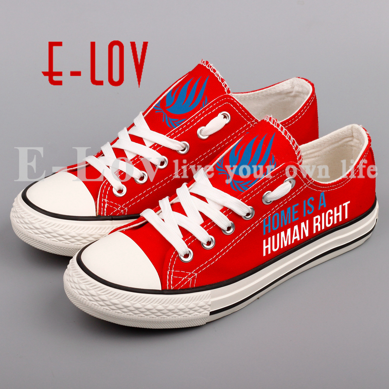 E-LOV Design Home Is Human Right Letter Printed Canvas Shoes Lace-up Women Flat Casual Shoe Espadrilles Unisex Zapatos printed assassins creed canvas shoes fashion design hip hop streetwear unisex casual shoes graffiti women flat shoe sapatos