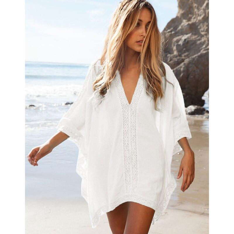 784a2e088d4c Mujer cubierta Ups playa Bikini vestido de malla de cubierta de encaje Sexy  traje de baño playa usar protector solar baño cubierta de las mujeres ...